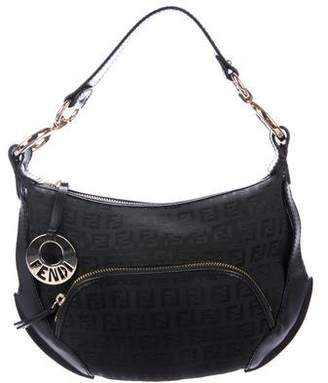 Fendi Leather-Trimmed Zucchino Hobo