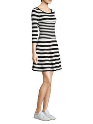 Milly Striped Ottoman Fit-&- Flare Dress