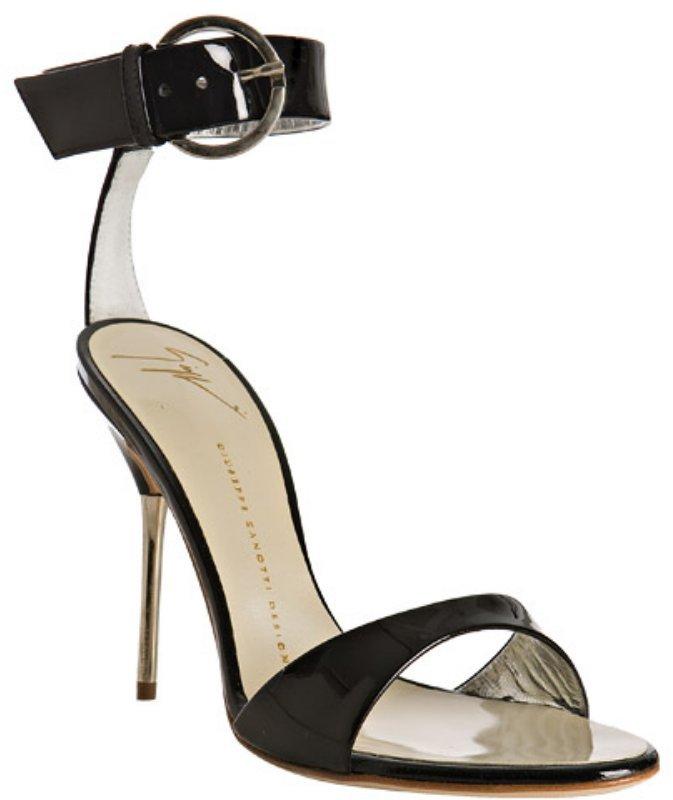 Giuseppe Zanotti black patent leather ankle strap sandals