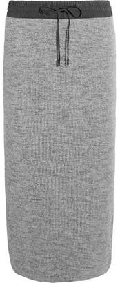 DKNY - Ribbed Cotton-blend Midi Skirt - Gray $360 thestylecure.com
