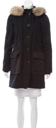 Marc by Marc Jacobs Hooded Fur-Trimmed Coat