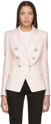 Balmain Pink Six-Button Cinched Blazer