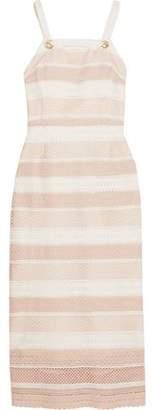 Rebecca Vallance Testa Tie-Back Striped Crochet Midi Dress