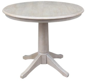 """INC International Concepts Round Top 36"""" x 36"""" Solid Wood Pedestal Dining Table in Washed Gray Taupe"""