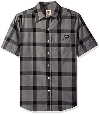 Dickies Men's Regular Fit Short Sleeve Single Pocket Plaid Shirt