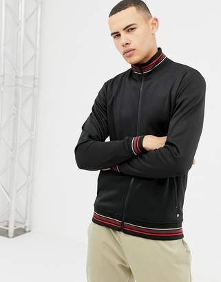 Solid sateen track jacket stripe collar and cuffs in black