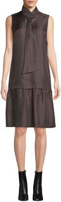 Lafayette 148 New York Abbie Silk Foulard Tie-Neck Sleeveless A-Line Dress