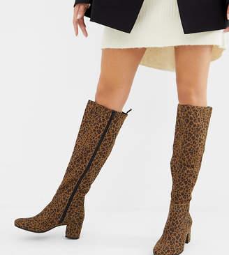 Monki knee high heeled boot in leopard print