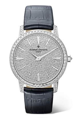 Vacheron Constantin Traditionelle 33mm Small 18-karat White Gold, Alligator And Diamond Watch - Navy
