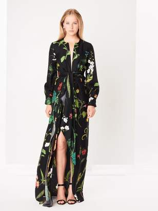 Oscar de la Renta Draped Botanical Silk-Twill Gown