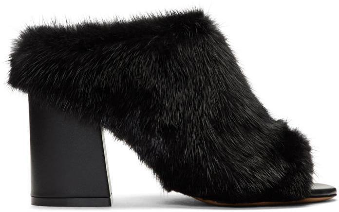 Givenchy Black Fur Paris Mules