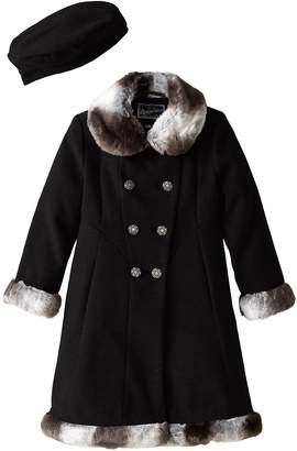 Rothschild Little Girls' Dressy Coat with Faux Fur Trim