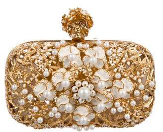 Alexander McQueen Floral Pearl Skull Box Clutch