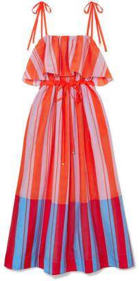 Diane von Furstenberg Striped Cotton And Silk-blend Gauze Maxi Dress