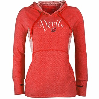 Antigua Women's Heathered Red New Jersey Devils Fashion Rundown Pullover Hoodie