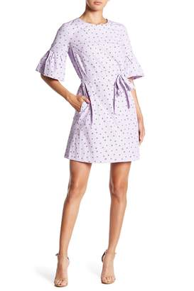 Donna Morgan Dotted Bell Sleeve Dress