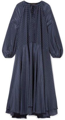 Lee Mathews - Queenie Polka-dot Silk Crepe De Chine Midi Dress - Navy
