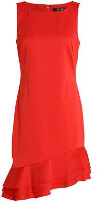 Badgley Mischka Asymmetric Ruffle-Trimmed Cady Dress