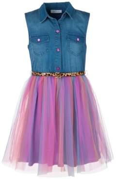 Bonnie Jean Little Girls Denim Rainbow Dress