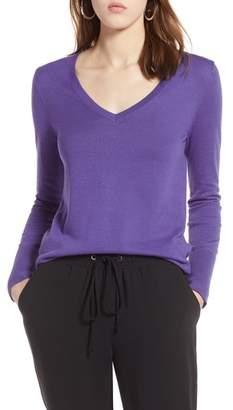 Halogen Cotton Blend V-Neck Sweater