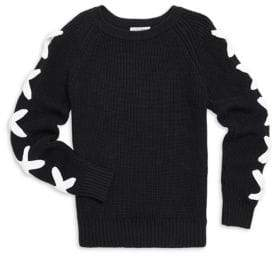 Autumn Cashmere Girl's Shaker Lace-Up Sleeve Sweater