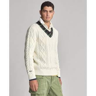 Ralph Lauren Plaid-Trim Cricket Sweater