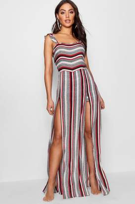 boohoo Stripe Beach Split Maxi Dress