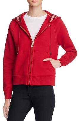 Burberry Zip Front Hooded Sweatshirt