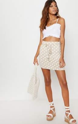 PrettyLittleThing Black Jersey Polkadot Asymmetric Skirt