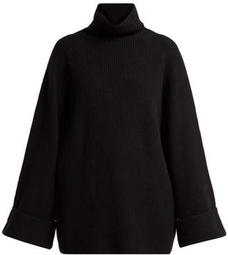 Raey Wide Sleeve Ribbed Roll Neck Wool Sweater - Womens - Black