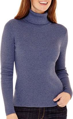 LIZ CLAIBORNE Liz Claiborne Long-Sleeve Ribbed Knit Turtleneck Sweater - Tall $54 thestylecure.com
