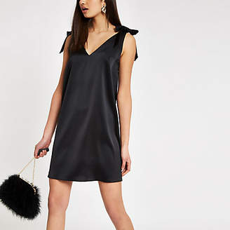 River Island Black tie shoulder strap slip dress
