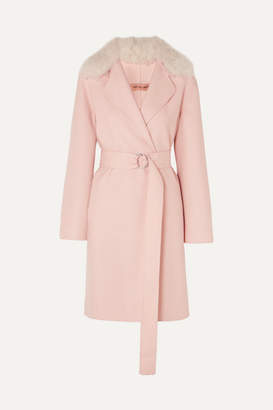 Yves Salomon Belted Shearling-trimmed Wool And Cotton-blend Coat - Blush