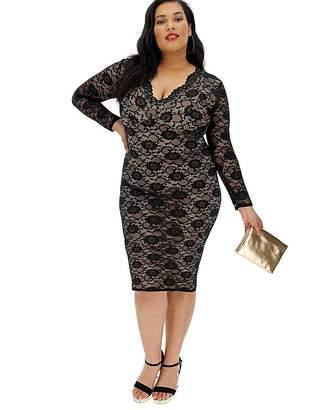 224749409bed Long Sleeve V Neck Dress - ShopStyle UK