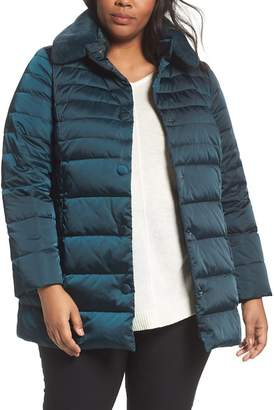 Marina Rinaldi Persona by Quilted Puffer Jacket with Genuine Rabbit Fur Trim (Plus Size)