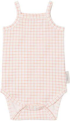 Tinycottons Off-White And Carmine Grid Body