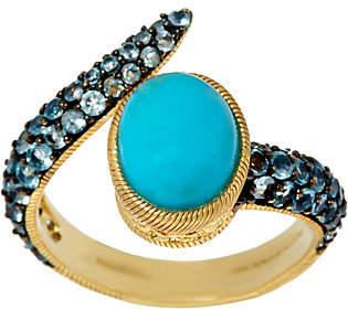 Judith Ripka Sterling/14K Clad Turquoise &Blue Topaz Wrap