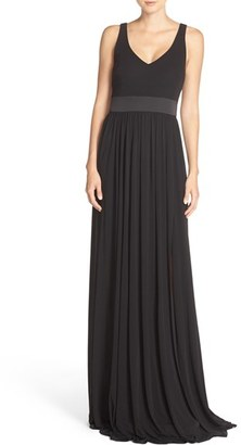 Women's Vera Wang V-Neck Jersey Gown $328 thestylecure.com