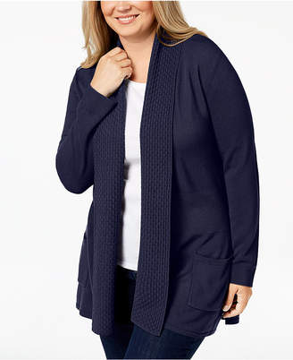 Karen Scott Plus Size Textured Shawl-Collared Cardigan Sweater