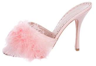 Agent Provocateur Feather-Trimmed Slide Sandals