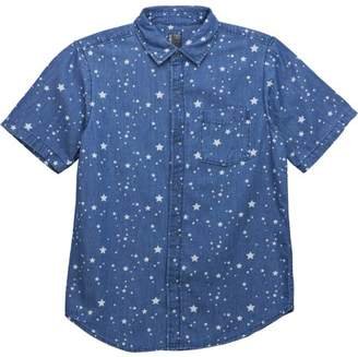 No Retreat Boys Denim Stars Print Button Up Short Sleeve Pocket Woven Shirt