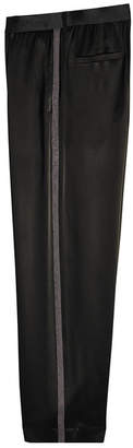 Brunello Cucinelli Satin Pants with Embellished Tuxedo Stripes