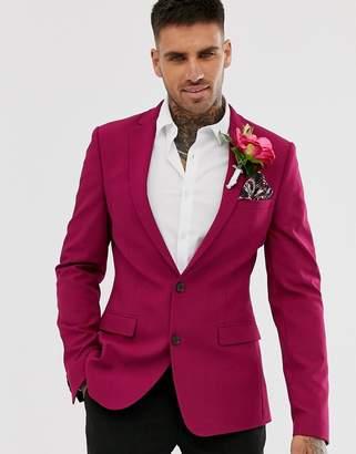 Asos Design DESIGN super skinny crepe blazer in bright purple