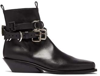 Ann Demeulemeester Buckled Cuban Heel Leather Boots - Mens - Black