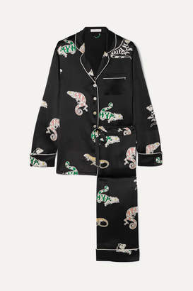 Olivia von Halle Lila Printed Silk-satin Pajama Set - Black