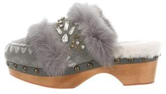 Mou Fur-Trimmed Jewel-Embellished Clogs w/ Tags