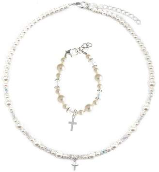 Silver Cross Crystal Dream Communion Swarovski White Simulated Pearls Crystals Sterling Charm Girl Bracelet and Necklace Gift Set (GSNBCRSS_S+)