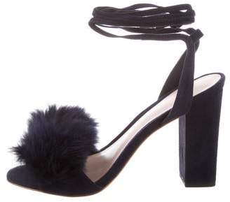 Loeffler Randall Nicolette Fur-Trimmed Sandals w/ Tags