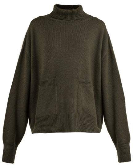 Pocket Front Roll Neck Cashmere Sweater - Womens - Khaki