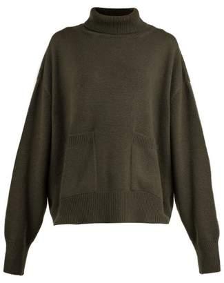 Raey Pocket Front Roll Neck Cashmere Sweater - Womens - Khaki